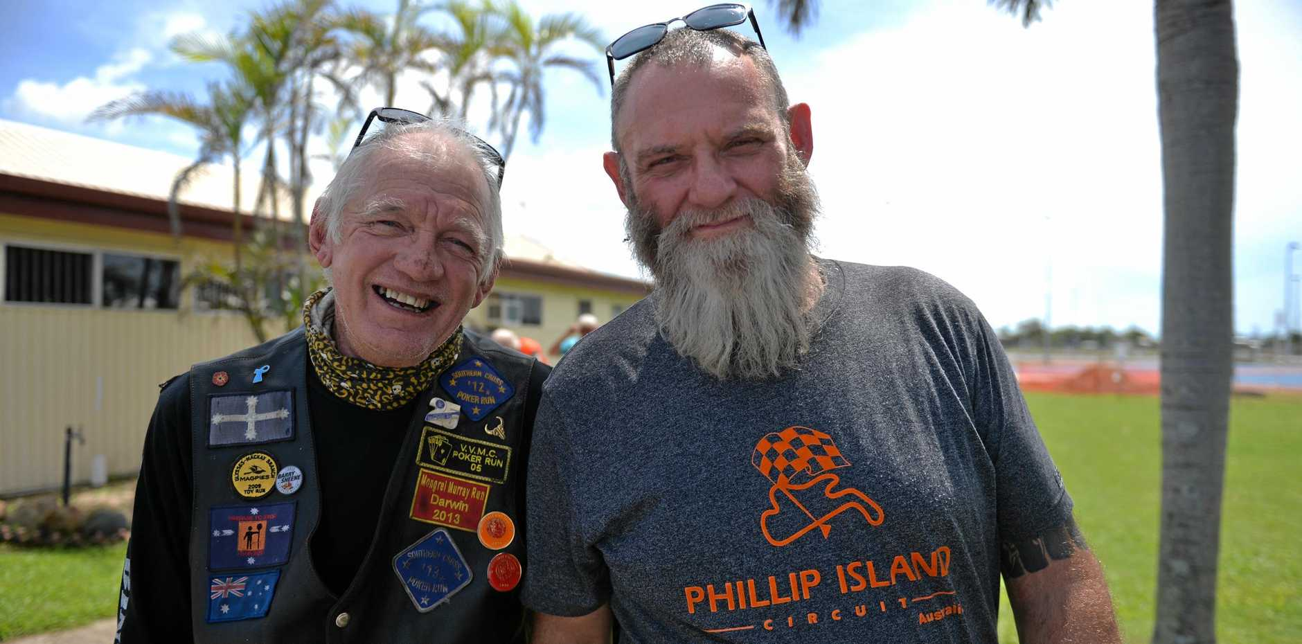 GREAT CAUSE: Nev Brodie and Brett Underdown at the Black Dog Ride.