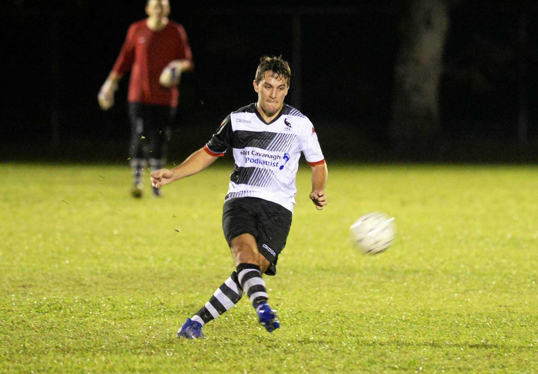 Soccer: Nerimbera's Lachlan Riley.