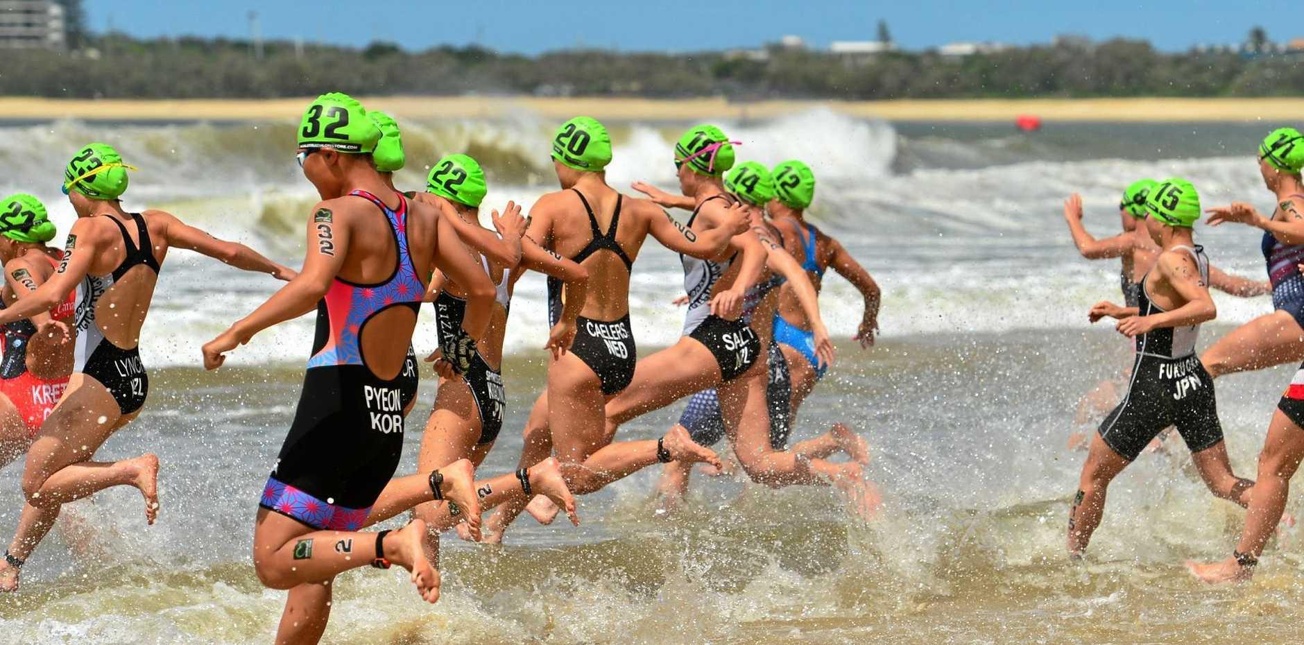 The Mooloolaba Triathlon is officially under way