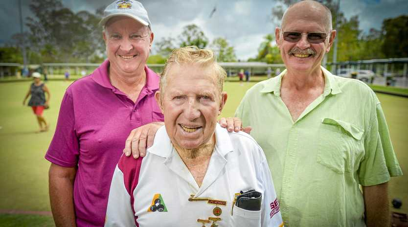 WE STICK TOGETHER: BITS Bowls Club games director Geoff Turnbull, foundation member Max Ricketts and club president Peter Cameron.