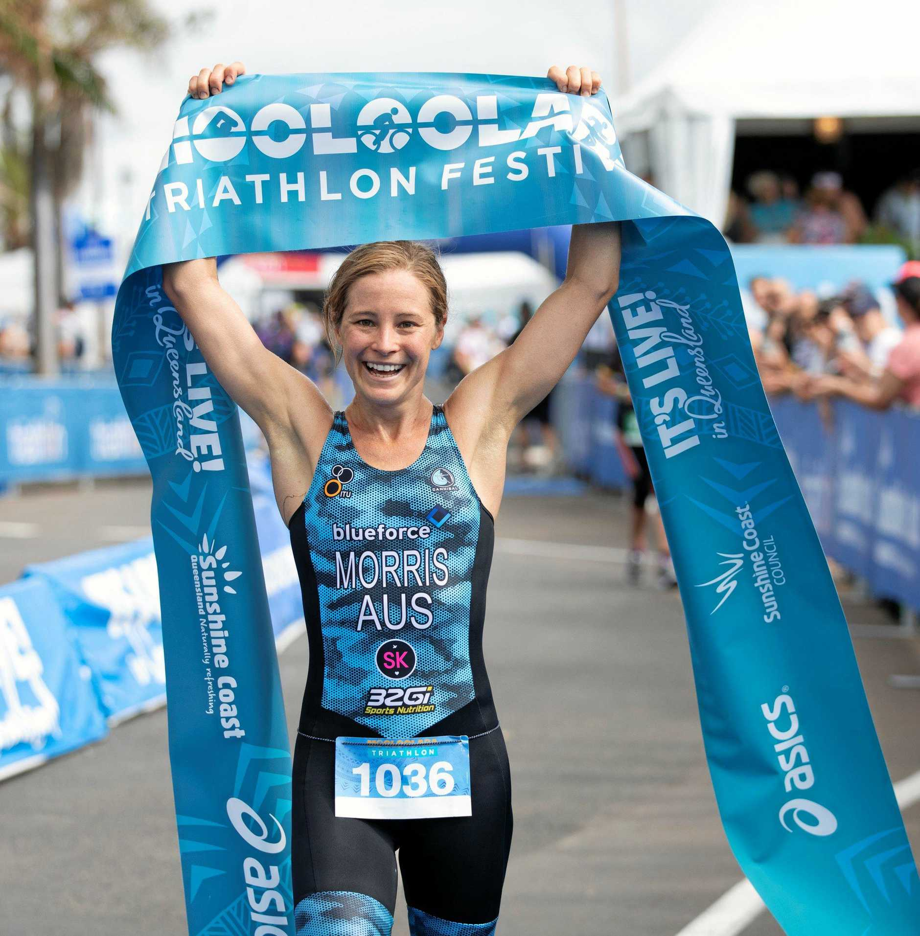 Kerry Morris won the Mooloolaba Triathlon for the second year in a row on Sunday, March 17