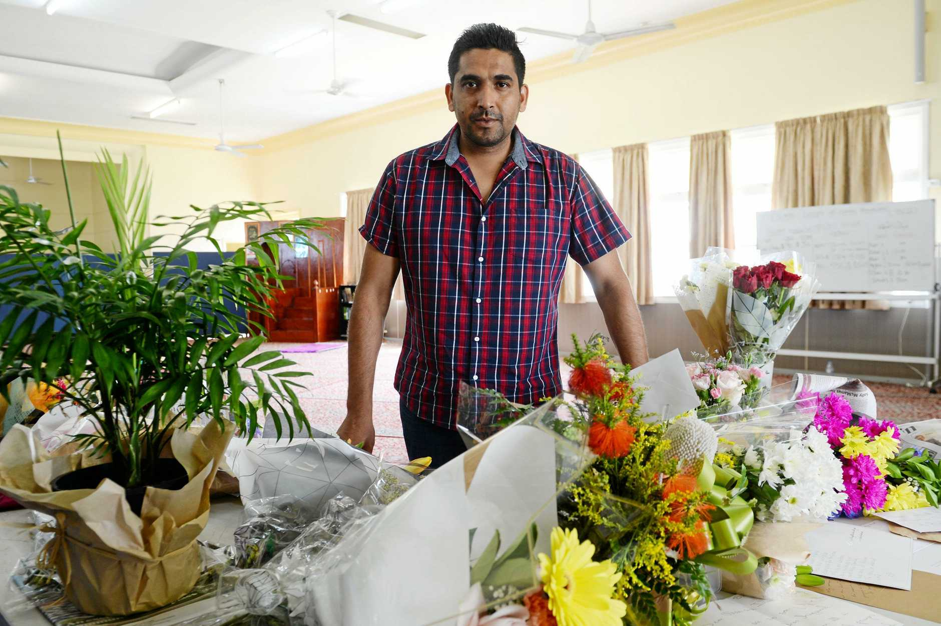 The citys Muslim leader President Riaz Ahmed said they had been overwhelmed with the support from the CQ community since the tragedy with hundreds of cards and bunches of flowers dropped outside its Rockhampton mosque.