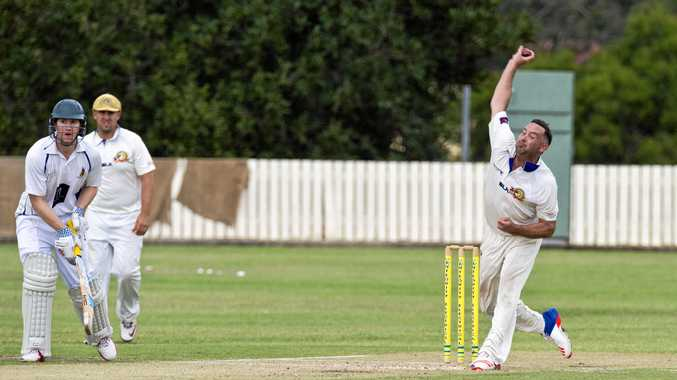 HERCULEAN EFFORT: Dane Hutchinson lets one fly for Northern Brothers Diggers in their semi final against University at Heritage Oval yesterday.