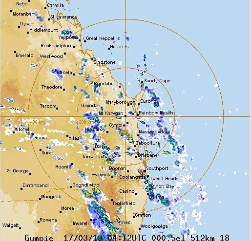GYMPIE FORECAST: The map below shows severe thunderstorms heading for Gympie.
