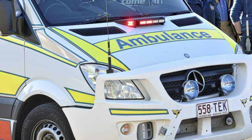 A man in his 50s was taken to Nambour Hospital after the vehicle and bicycle crash at Eumundi this morning.