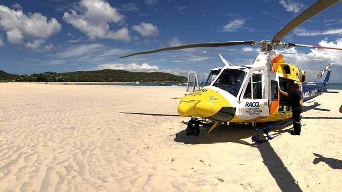 A man was flown to Rockhampton Hospital earlier this afternoon after being stung by a Stingray.