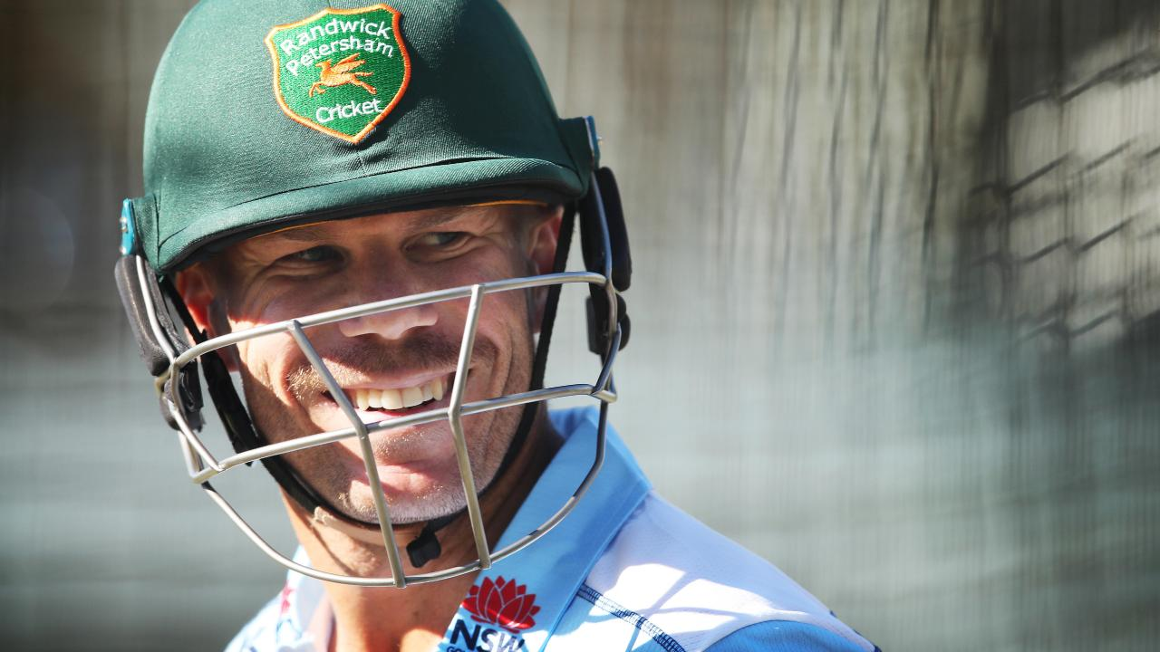 David Warner had a hit with Pat Cummins and Josh Hazlewood in Sydney late last year. Picture: Phil Hillyard