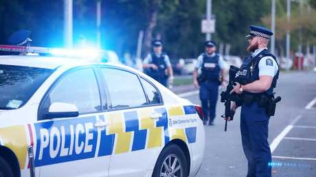 Police guard Deans Rd as evidence gathering continues at the Al Noor mosque in Christchurch, New Zealand. Picture: Fiona Goodall/Getty Images
