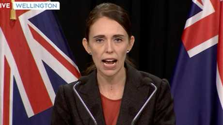 New Zealand Prime Minister Jacinda Ardern gives a press conference from Wellington. Picture: TVNZ via AP