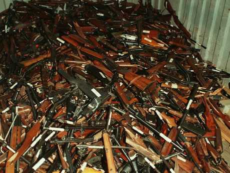 A container of broken guns obtained through Australia's buyback scheme in 1997.