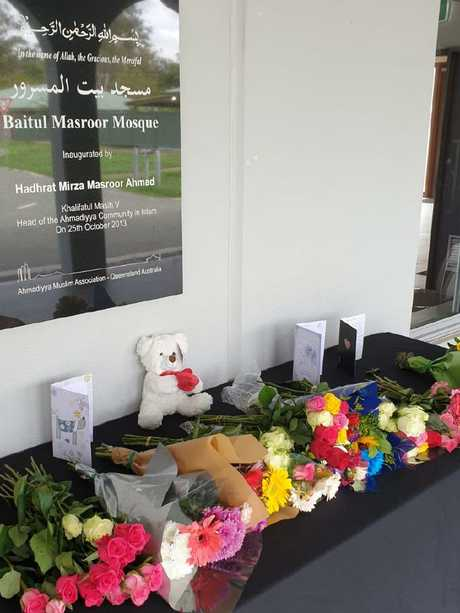 Flowers were left in tribute at Stockleigh mosque.