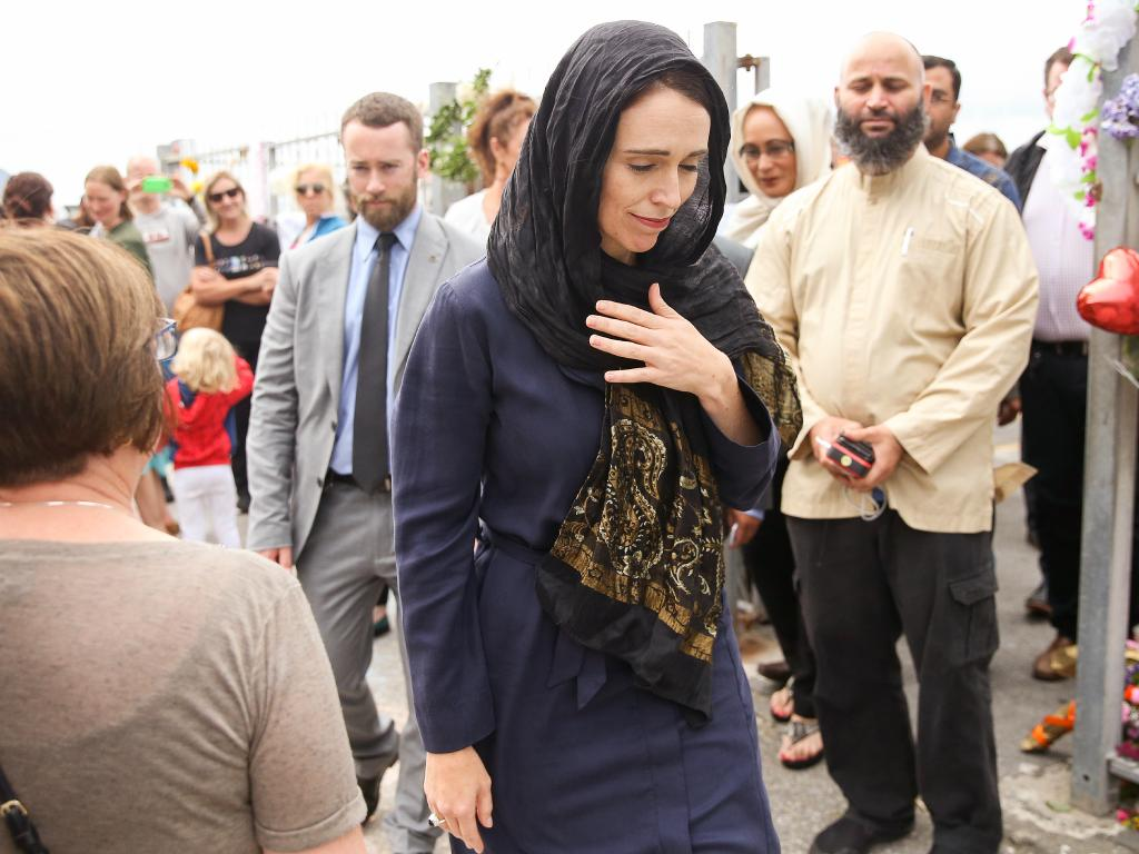 NZ Prime Minister Jacinda Ardern  visits the Kilbirnie Mosque in Wellington, where she met the families of victims.  Picture: Getty Images