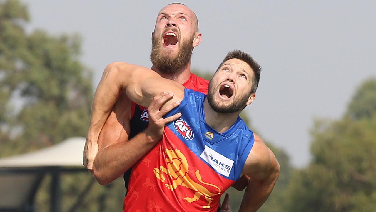 Brisbane ruckman Stef Martin battles with Melbourne's Max Gawn. Picture: Michael Klein