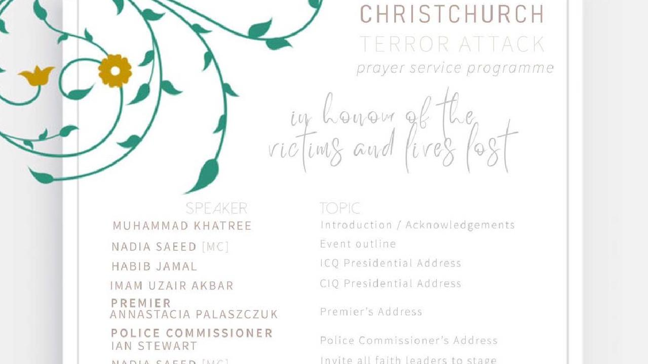 A service will be held at Karawatha Mosque which will be attended by Premier Annastacia Palaszczuk today at 2pm.