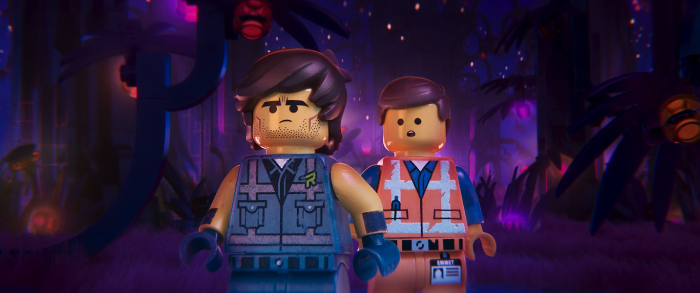 Rex Dangervest (Chris Pratt) and Emmet (also Chris Pratt) in a scene from The Lego Movie 2.