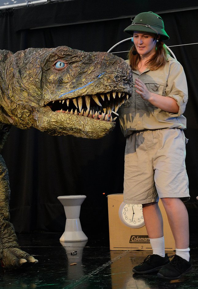 "Bluey the Dinosaur with intrepid time machine builder ""Flick"". Photo: Brigg Bee"