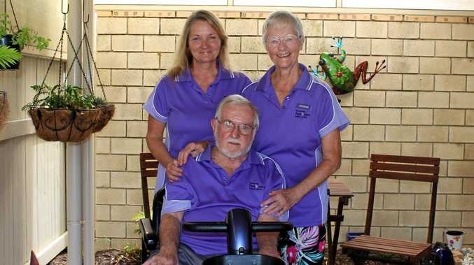 LONG WAIT: Noel Eichmann with his wife Barb (right) and daughter Leisa (left) have looked forward to welcoming a Parkinson's nurse to the Fraser Coast for the past three years.