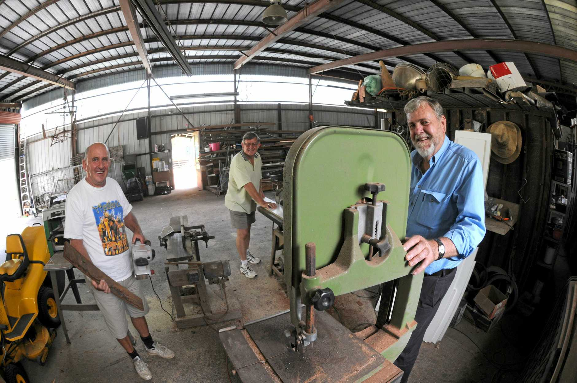 FLASHBACK TO 2011: When the Rotary Club of Buderim was looking to start a Men's Shed to give retirees a place to spend time and get involved in hobbies. (From left) Rotary members, Ken Grant, Ray Mazoletti and Rick Beasley.