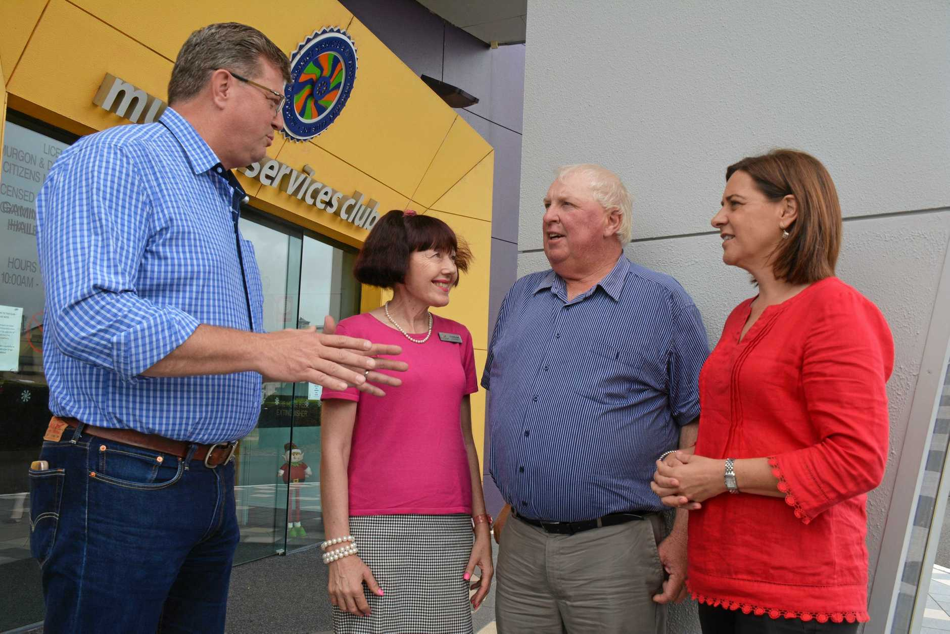 CRIME: Shadow police minister Trevor Watts, South Burnett Councillor Kathy Duff, Murgon Neighbourhood Watch co-ordinator Brett Sander and Nanango Member Deb Frecklington in discussion after a meeting in Murgon last year.