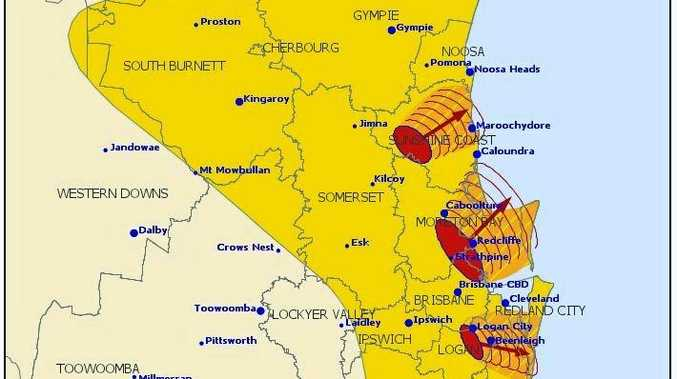 A severe storm warning has been issued for people in parts of Logan, Scenic Rim, Gold Coast, Redland City, Sunshine Coast, Brisbane City and Moreton Bay Council Areas.