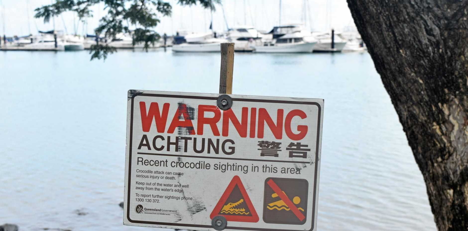 CROC SPOT: Whitsunday Regional Council put up a warning sign at Shingley Beach following reports of a 'large' crocodile yesterday.