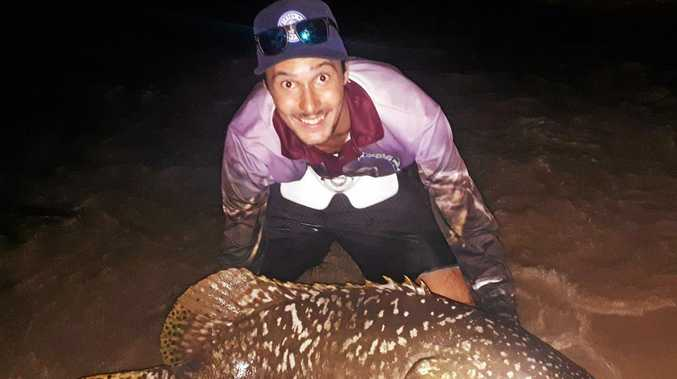 WHAT A CATCH! Agnes Water angler Ethan Hornby managed to reel in a large Queensland groper.