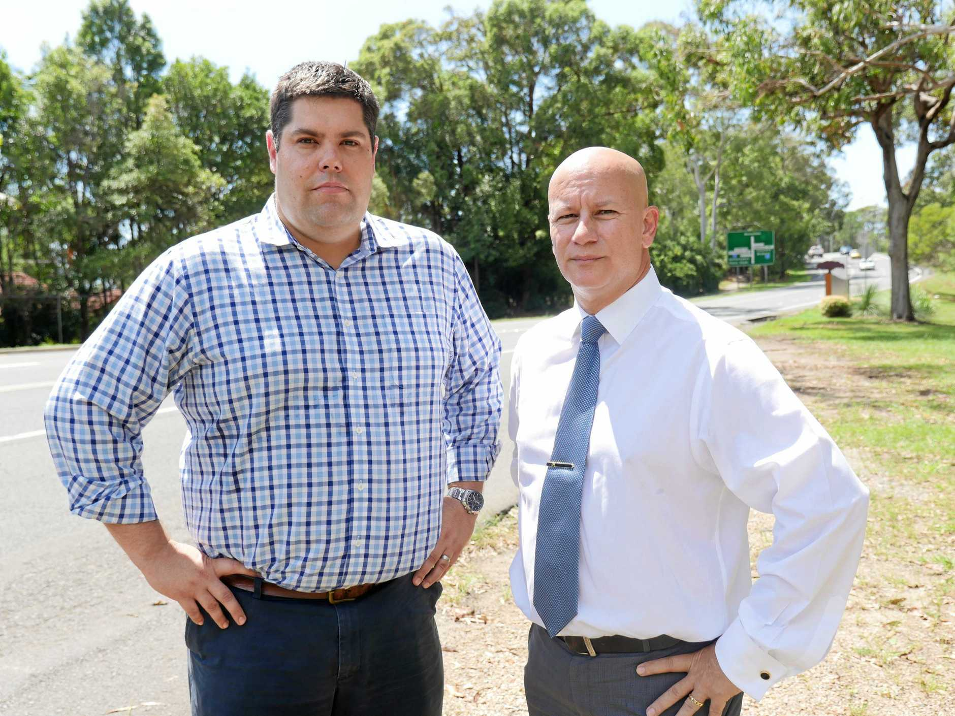 Buderim MP Brent Mickelberg and Transport and Main Roads shadow minister Steve Minnikin call for an urgent solution to traffic chaos at a Buderim intersection.