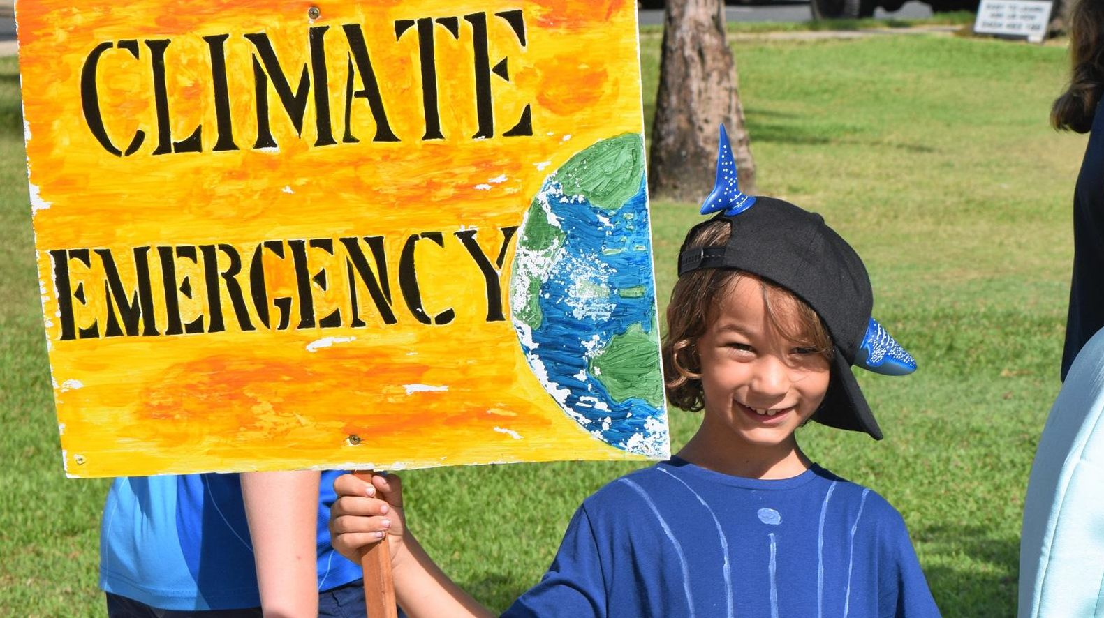 Luca Fanning and Joah Fanning at the School Strike 4 Climate on Friday March 15, 2019, Airlie Beach.