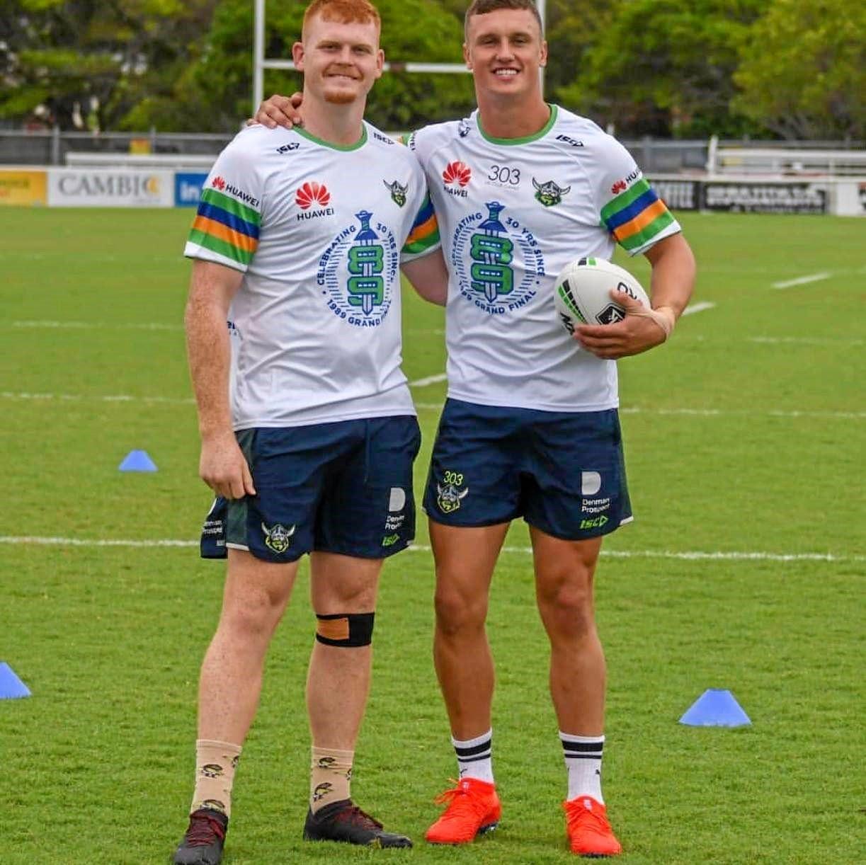 Corey Horsburgh and Jack Wighton at Canberra training.