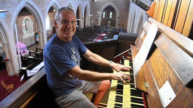 ORGAN RECITAL: Barry Davis gives the restored church organ a work out prior to the performance by Andrej Kouznetsov this Frday night at Christ Church Bundaberg.