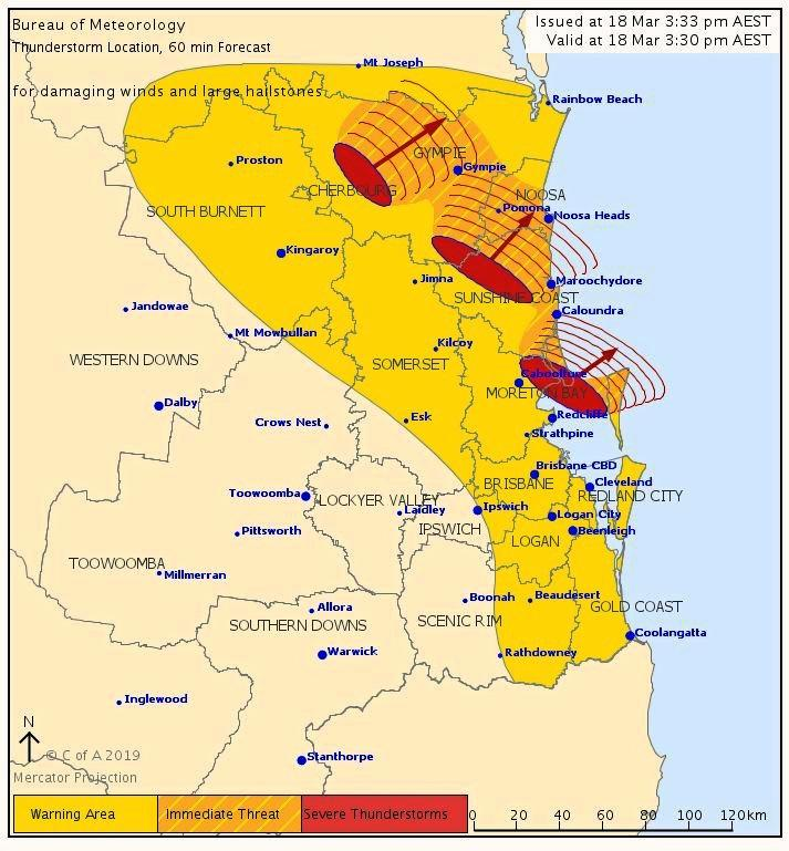 A severe storm warning has been issued, with hail and damaging winds heading towards Noosa.