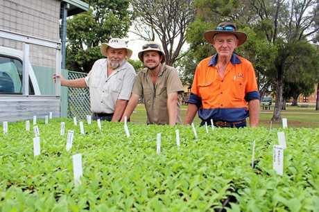 Ian Macdonald, Brent Macdonald from Southern Downs Garden Centre with SDRC gardener Bob Bryson.