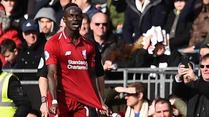 Sadio Mane celebrates his goal. Picture: Glyn KIRK / AFP