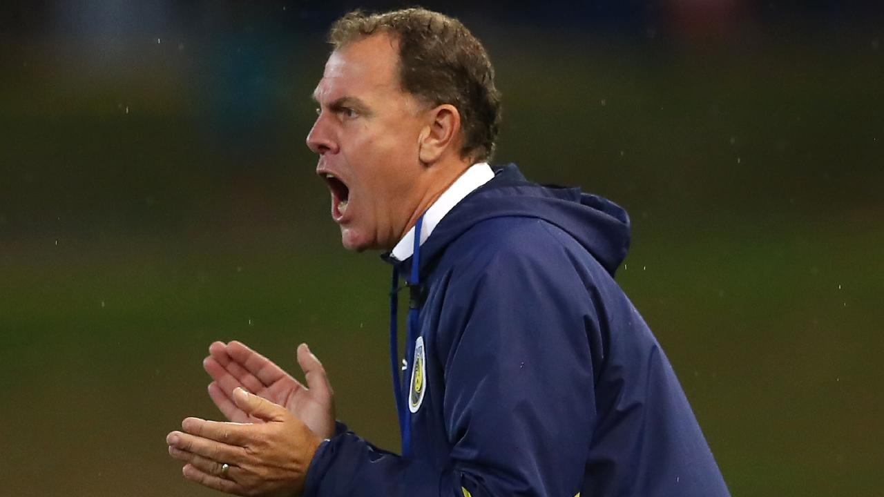 Alen Stajcic urges the Mariners on during their narrow 3-2 win against Newcastle. Picture: Getty Images