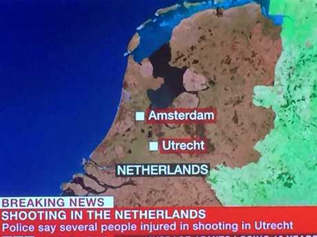 A map of Utrecht in the Netherlands shows the location of the shooting, which police are describing as a terror attack. Picture: Supplied/BBC