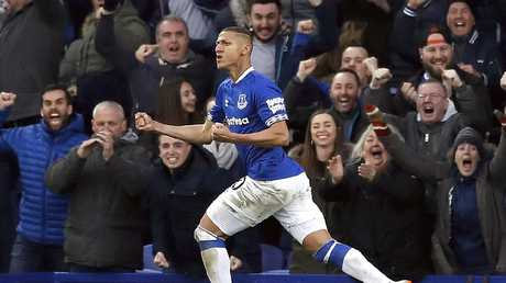 Everton's Richarlison celebrates scoring his side's first goal of the game against Chelsea. Picture: Martin Rickett/PA via AP