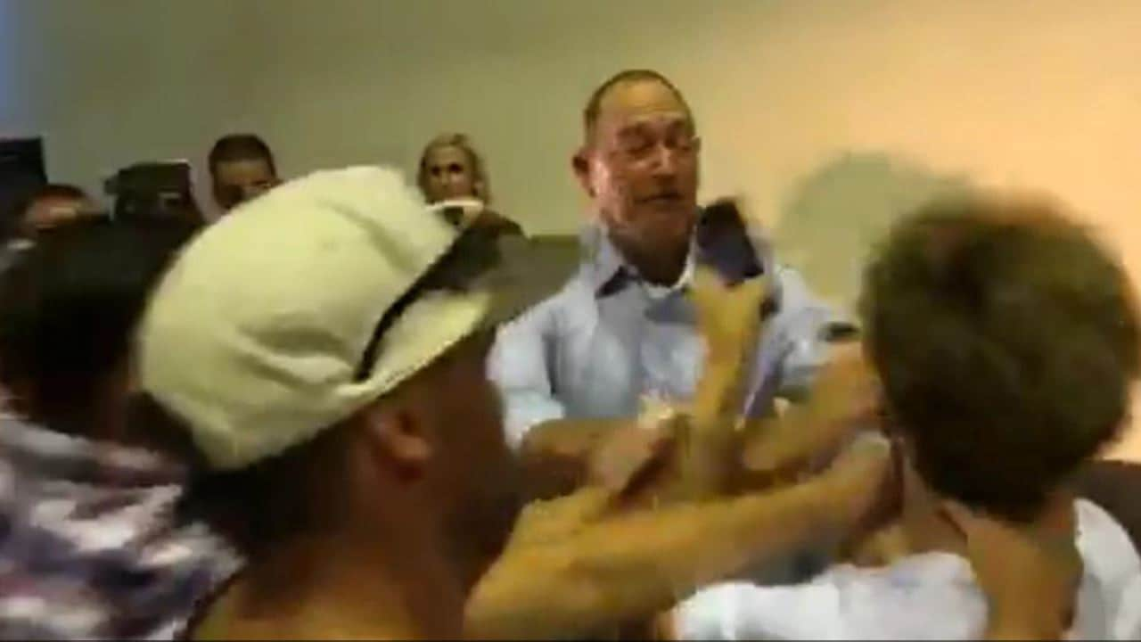 Fraser Anning is egged by 17-year-old William Connolly.