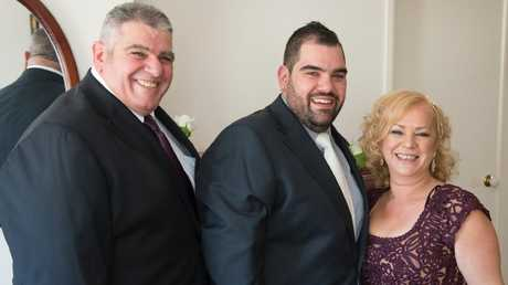 (L to R): Vince Condello before his transformation, his son Vince Jnr and wife Anna.