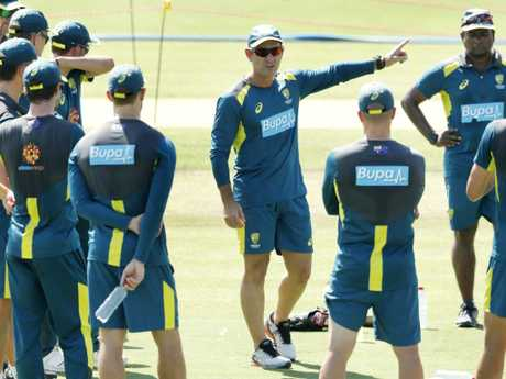 Justin Langer gives instructions during an Australian training session in January.
