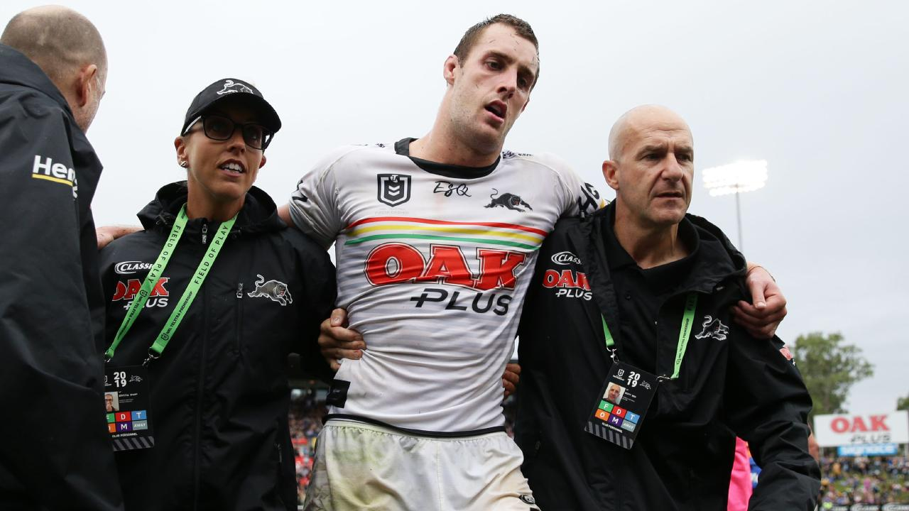 Isaah Yeo is helped from the field. (Picture: Matt King/Getty Images)