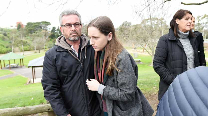 Borce and Sarah Ristevski leaving a press conference shortly after Karen vanished. Picture: Tracey Nearmy/AAP