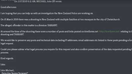 New Zealand Police confirmed the email exchange between Detective Michael and Kiwi Farms operator Joshua Moon was genuine. Picture: Kiwi Farms