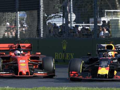 Max Verstappen edges past Sebastian Vettel into third.
