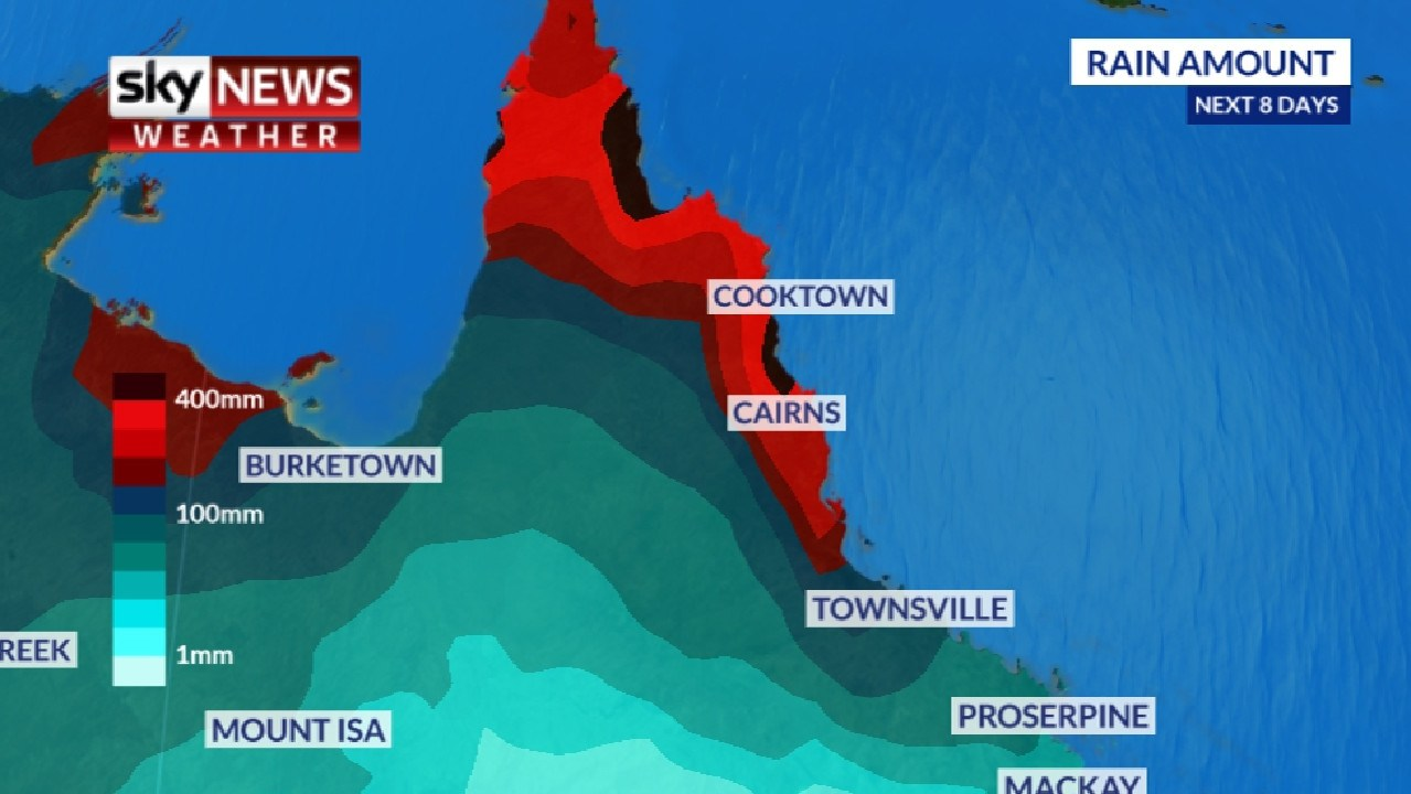 Rainfall could surpass 400mm over the next week in some parts of Queensland. Picture: Sky News Weather