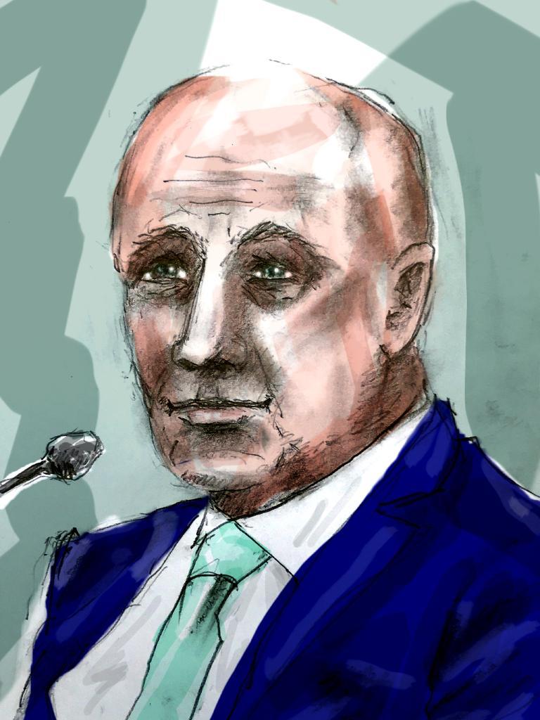 Edmund Ian Riggs court drawing by Richard Gosling.