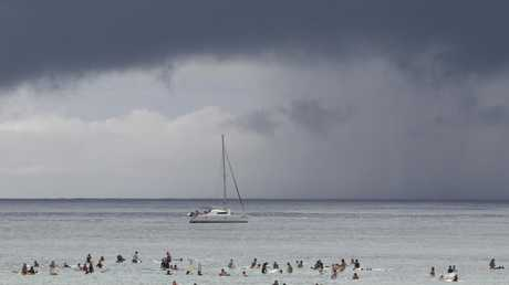 Storms roll in from the sea at Burleigh Heads yesterday. Pic Mike Batterham