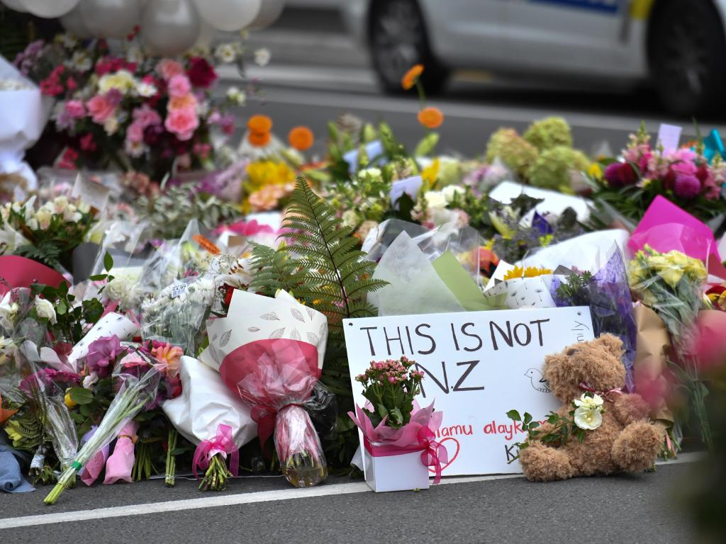 A makeshift memorial near the Al Noor Masjid on Deans Rd in Christchurch, Saturday, March 16, 2019. Picture: AAP Image/Mick Tsikas