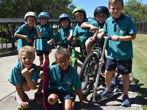 Students at Noosaville State School ride their bikes