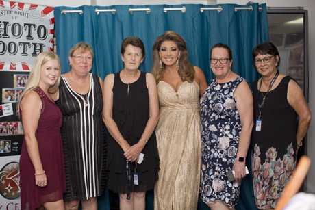 STAR STRUCK: Hervey Bay Independent staff Kerrie Alexander, Helen Rekdale, Vikki Seddon, Karen White and Lousie Holmes had a photo opprtunity with The Real Housewives of Melbourne star Gina Liano at the Indy Foundation event.