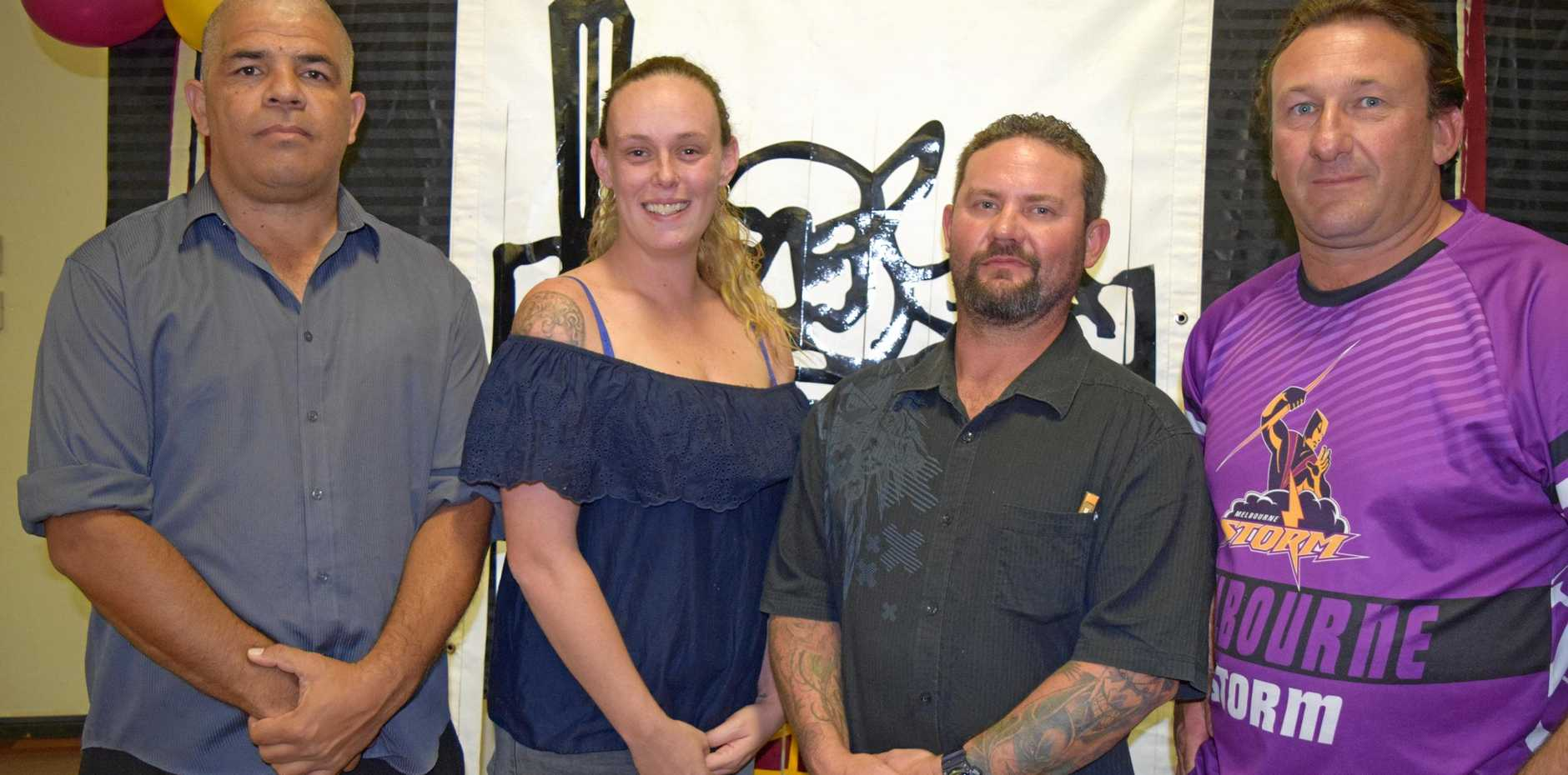 NO TEAM: At the 2018 presentation night former Biggenden Warriors Football Club coach, Getano George with the executive Beth Stralow, Justin Vicary and Alex Eggleston.